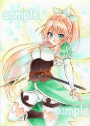 1girl blonde_hair braid breasts green_eyes leafa long_hair pointy_ears ponytail sample sword_art_online thighhighs traditional_media twin_braids wakaba0801
