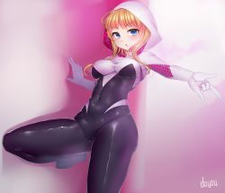 1girl \n/ artist_name bangs blonde_hair blue_eyes blush bodysuit breasts chestnut_mouth covered_navel doyouwantto gwen_stacy hood looking_at_viewer marvel medium_breasts parted_lips short_hair skin_tight solo spider-gwen spider-man_(series) spider_web_print superhero white_hood
