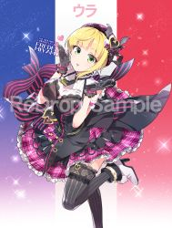 1girl black_gloves blonde_hair blush boots breasts floral_print french_flag gloves green_eyes hat heart high_heel_boots high_heels idolmaster idolmaster_cinderella_girls large_breasts looking_at_viewer microphone miyamoto_frederica necktie open_mouth plaid plaid_skirt redrop sample short_hair skirt smile solo thighhighs