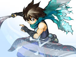 1boy armor black_eyes black_hair chari_(haru_pict) holding holding_sword holding_weapon japanese_armor kisuke oboro_muramasa scarf skull slashing solo sword weapon
