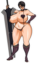 1girl black_hair boots bracer breasts brown_eyes cattleya choker curvy erect_nipples full_body gigantic_breasts glasses hand_on_hip heart-shaped_sling_bikini heart_pasties huge_weapon johnrokk knee_boots long_hair milf navel pasties planted_sword planted_weapon ponytail queen's_blade sagging_breasts sling_bikini solo standing strap_gap swimsuit sword thick_thighs thighs toned weapon