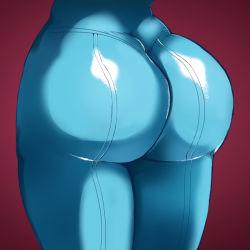 1girl ass bodysuit close-up from_behind huge_ass metroid nintendo pov_ass red_background samus_aran skin_tight solo the_golden_smurf thighs zero_suit