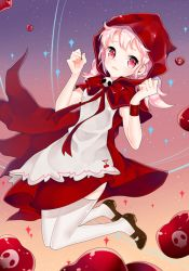 1girl apron cape cherry cherry_cookie cookie_run dress food fruit li.b_(liebenib) pink_eyes red_dress red_hood short_hair skull smile solo thighhighs twintails white_hair white_legwear