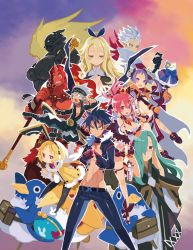 6+boys 6+girls adjusting_glasses armor black_hair black_legwear blonde_hair breasts character_request choker cleavage cropped_jacket crown disgaaea disgaea everyone expressionless fighting_stance glasses gloves green_hair grey_hair gun hair_over_one_eye hairband harada_takehito headband horn kicking kiria_(disgaea_5) leotard makai_senki_disgaea_5 messy_hair miniskirt multiple_boys multiple_girls necktie official_art pants pantyhose pink_hair pointy_ears prinny purple_eyes purple_hair red_eyes red_skin seraphine serious shirtless shoes short_hair skirt smile staff twintails usaria weapon white_hair yellow_eyes