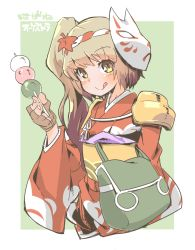 1girl :p blush brown_eyes brown_hair dango fingerless_gloves food fox_mask gloves hagane_orchestra headband japanese_clothes kimono kureha_(hagane_orchestra) leaf looking_at_viewer maple_leaf mask obi raigou sash shoulder_pads side_ponytail simple_background solo tongue tongue_out wagashi