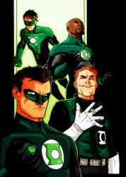 4boys black_hair bodysuit dark_skin dc_comics flying gloves green_eyes green_lantern green_lantern_(series) guy_gardner hal_jordan john_stewart kyle_rayner mask multiple_boys ring wink