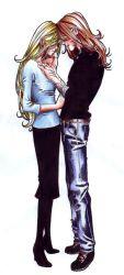 1boy 1girl bandage beard bill_weasley black_shirt black_skirt blonde_hair blue_eyes couple fleur_delacour freckles full_body hair_over_eyes harry_potter high_heels husband_and_wife injury jeans jewelry long_hair orange_hair ring scar simple_background skirt