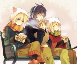 1girl 2boys akiyoshi_(tama-pete) bench blonde_hair blush eating eyes_closed kagamine_len kagamine_rin kaito multiple_boys scarf short_hair sitting vocaloid