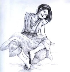 1girl artist_request avatar:_the_last_airbender avatar_(series) barefoot blanket capri_pants chinese_clothes dirty_feet eyes_closed feet hair_bun head_tilt highres monochrome pants pen_(medium) robe sketch smile soles toes toph_bei_fong traditional_media
