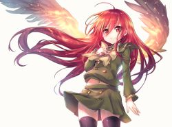 1girl ahoge alastor_(shakugan_no_shana) anniversary black_legwear blush bow hand_on_own_chest jewelry ks long_hair long_sleeves navel necklace pendant red_eyes red_hair school_uniform serafuku shakugan_no_shana shana shirt skirt skirt_set smile solo thighhighs very_long_hair wind wind_lift wings zettai_ryouiki