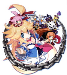 >:d 1boy 3girls :d ahoge arms_up attouteki_yuugi_mugen_souls attouteki_yuugi_mugen_souls_z belt between_breasts blonde_hair blue_eyes blue_hair blush blush_stickers breasts brown_hair chains chibi chou_chou chou_chou_egotistical cleavage coffin dark_skin detached_sleeves double_v fire flame goggles goggles_on_head hair_ribbon holding holding_sword holding_weapon long_hair long_sleeves multiple_girls nanameda_kei nao_(mugen_souls) necktie official_art on_head open_mouth outstretched_arm pleated_skirt pointing ponytail red_eyes ribbon ryuto_(mugen_souls) shilma_(mugen_souls) skirt smile sparkle sword thighhighs v very_long_hair weapon white_background white_legwear
