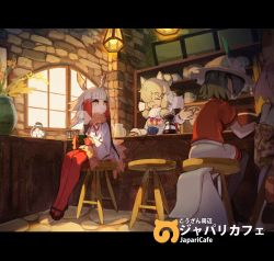4girls alpaca_suri animal_ears backpack bag bangs black_hair black_legwear black_shoes blonde_hair blunt_bangs bucket_hat cafe coffee crested_ibis_(kemono_friends) cup eyes_closed fur_collar gloves hat hat_feather head_wings holding holding_cup indoors japari_symbol kaban kemono_friends lamp long_hair long_sleeves multicolored_hair multiple_girls pantyhose plant potted_plant red_gloves red_hair red_legwear red_shirt seimannu serval_(kemono_friends) shirt shoes short_hair short_sleeves shorts sidelocks sitting smile stool two-tone_hair white_hair white_shorts wide_sleeves window yellow_eyes