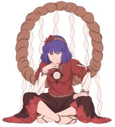 1girl anklet blue_hair feet frilled_sleeves frills full_body hair_ornament hand_on_lap hand_on_own_chin highres indian_style jewelry leaf_hair_ornament long_sleeves looking_at_viewer mefomefo no_socks red_eyes red_shirt red_skirt rope sandals shimenawa shirt simple_background sitting skirt smile solo toes touhou white_background yasaka_kanako