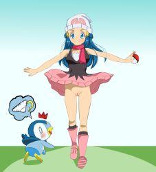 1girl blue_eyes blue_hair blush female hikari_(pokemon) long_hair no_panties piplup pokemon pussy skirt smile tagme
