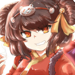 1girl annie_hastur brown_hair grin kaho_(amal135) league_of_legends looking_at_viewer smile solo