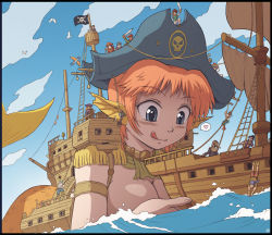 1girl becky_(felarya) bird blue_eyes blush breasts cannon cleavage earrings felarya giantess grappling_hook hat head_fins heart jewelry karbo large_breasts licking_lips mermaid monster_girl ocean orange_hair person_on_head pirate pirate_hat pointy_ears sail saliva seagull ship size_difference skull_and_crossbones sky spoken_heart sword tongue tongue_out water watercraft weapon