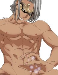 1boy abs artist_name dark_skin fire_emblem fire_emblem_heroes male_focus mask mysterious_man_(fire_emblem) navel nude pinktofuu shirtless solo teeth upper_body white_background white_hair