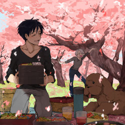 2boys basket black_hair blue_eyes cherry_blossoms cup dog drink drinking_glass drooling eyes_closed food hair_over_one_eye katsuki_yuuri kneeling makkachin male_focus multiple_boys obentou open_mouth petals picnic silver_hair smile spring_(season) thermos tongue tongue_out tree viktor_nikiforov you_(gay322k) yuri!!!_on_ice