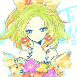 1girl bow final_fantasy final_fantasy_vi flower green_eyes green_hair hair_bow kobayashi_kabura long_hair lowres ponytail solo tina_branford