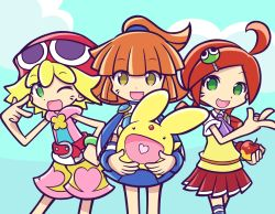 3girls amitie amitie_(puyopuyo) andou_ringo apple arle_nadja blonde_hair bracelet brown_eyes carbuncle_(puyopuyo) green_eyes hair_ornament happy madou_monogatari multiple_girls mzkn002 official_style one_eye_closed open_mouth orange_hair puyopuyo puyopuyo_fever red_hair red_hat short_hair shorts simple_background skirt smile wink