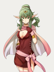 1girl bracelet breasts cape chiki choker cleavage dress fire_emblem fire_emblem:_kakusei garter_straps gloves green_eyes green_hair hair_ornament hair_ribbon jewelry long_hair looking_at_viewer nana-ine pink_legwear pointy_ears ponytail red_dress red_gloves ribbon sash short_dress solo thighhighs