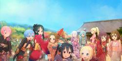 6+girls akiyama_mio animal aqua_(konosuba) aqua_eyes aqua_hair bakemonogatari beatrice_(re:zero) black_hair blonde_hair blue_hair blush brown_eyes brown_hair butterfly butterfly-shaped_pupils cat crossover darkness_(konosuba) emilia_(re:zero) highres hirasawa_yui japanese_clothes k-on! kimono kirisaki_chitoge kono_subarashii_sekai_ni_shukufuku_wo! kotobuki_tsumugi long_hair megumin midorikawa_hana monogatari_(series) multiple_crossover multiple_girls nakano_azusa nisekoi one-punch_man onodera_kosaki open_mouth oshino_shinobu pack_(re:zero) pink_hair prison_school puck_(re:zero) ram_(re:zero) re:zero_kara_hajimeru_isekai_seikatsu red_eyes rem_(re:zero) saitama_(one-punch_man) shiraki_meiko short_hair silver_hair steamy_tomato tachibana_marika tainaka_ritsu tatsumaki umbrella
