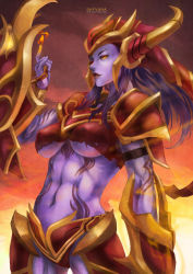 1girl absurdres artist_name breasts character_name fire hat highres huge_filesize incredibly_absurdres league_of_legends long_hair monorirogue navel shyvana smile solo tattoo underboob yellow_eyes