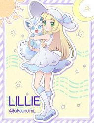 1girl alola_form alolan_vulpix blonde_hair braid character_name dress from_side green_eyes hat holding lillie_(pokemon) long_hair looking_to_the_side okonomi open_mouth pokemon pokemon_(anime) pokemon_(creature) pokemon_(game) pokemon_sm pokemon_sm_(anime) sleeveless sleeveless_dress sun_hat twin_braids twitter_username white_dress white_hat