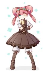 1girl ;) ankle_boots aqua_eyes arm_behind_back belt boots buckle buttons child collar collared_shirt dai_gyakuten_saiban dress drill_hair flower frills full_body gloves goggles goggles_on_head gyakuten_saiban hair_rings heart index_finger_raised iris_watson legs_apart namori neck_ribbon one_eye_closed pink_hair puffy_sleeves ribbon shirt sleeveless sleeveless_dress smile solo standing striped striped_legwear twin_drills twintails vertical-striped_legwear vertical_stripes white_background