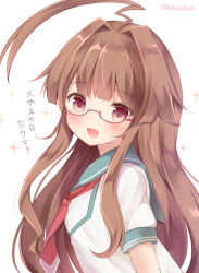 1girl :d ahoge brown_eyes brown_hair glasses glasses_day huge_ahoge kantai_collection kuma_(kantai_collection) long_hair looking_at_viewer masayo_(gin_no_ame) neckerchief open_mouth red-framed_eyewear sailor_collar school_uniform serafuku shirt short_sleeves simple_background smile solo sparkle translated twitter_username white_background