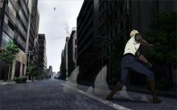 1boy animated animated_gif armored_gorilla attack black_sclera blonde_hair buildings cyborg earrings energy_cannon explosion fight fire flying from_behind full_armor genos glowing glowing_eyes jeans looking_at_viewer male no_humans onepunch_man serious sky sleeveless solo_focus spiked_hair streets yellow_eyes