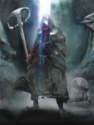 armor glowing glowing_eyes greaves highres hood ikuyoan pixiv_fantasia pixiv_fantasia_t robe solo_focus staff