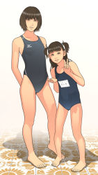 2girls age_difference brown_hair cameltoe competition_swimsuit mizuno one-piece_swimsuit school_swimsuit shinchou_ni_kansuru_kousatsu standing swimsuit