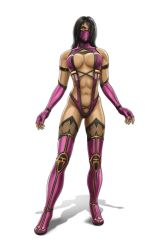 black_hair breasts elbow_gloves fingerless_gloves gloves highres large_breasts mask mileena mortal_kombat navel solo tagme yellow_eyes