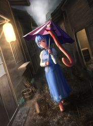 1girl aletto-mikan blue_eyes dutch_angle heterochromia karakasa_obake long_skirt long_sleeves looking_at_viewer open_mouth puffy_sleeves rain red_eyes sandals shirt skirt skirt_set solo tatara_kogasa touhou umbrella vest