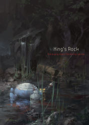 a-shacho blood death fishing_hook fishing_line forest highres king's_rock lying nature no_humans pokemon poliwhirl tagme text trunk water waterfall
