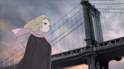 1girl blonde_hair blue_eyes boots bridge coat long_hair original scarf scenery seo_tatsuya sky solo walking