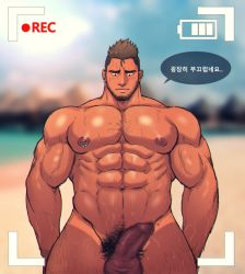 abs bara beach beard blush body_hair camera erection facial_hair foreskin looking_at_viewer male_focus muscle nipples nude outdoors pecs penis piercing recording summer sweat testicles toto_(artist)