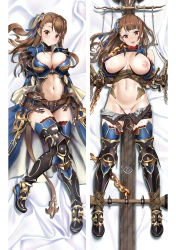 areolae arms_behind_back asymmetrical_bangs bangs beatrix_(granblue_fantasy) belt breasts breasts_apart brown_eyes brown_hair censored cleavage collar dakimakura granblue_fantasy greaves hair_ornament hair_ribbon heart heart_censor highres knees_together_feet_apart large_breasts long_hair looking_at_viewer lying mahan navel navel_cutout nipple_slip nipples on_back one_side_up open_fly open_mouth open_pants pants_pull red_legwear restrained ribbon shirt_lift short_shorts shorts smile thighhighs turtleneck