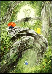 :> flower forest jumpluff kecleon leaf leafeon nature no_humans pikachu pokemon revision sitting sunlight takotto tree vileplume vines