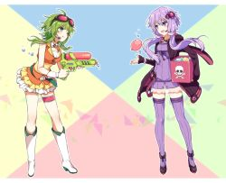 2girls :d ahoge aiming akiyoshi_(tama-pete) animal_hood anklet bangs belt black_jacket boots box bracelet breasts bunny_hood carrying_under_arm criss-cross_halter crop_top detached_collar dress finger_on_trigger frills full_body gem goggles goggles_on_head green_eyes green_hair gumi hair_between_eyes hair_ornament halter_top halterneck headset holding hood hood_down hooded_jacket jacket jewelry leg_garter legs_apart letterboxed looking_at_another microphone miniskirt multicolored_background multiple_girls open_clothes open_jacket open_mouth purple_dress purple_eyes purple_hair purple_legwear ribbed_legwear ruffled_skirt see-through short_hair_with_long_locks skirt skull_and_crossbones sleeveless sleeves_past_wrists small_breasts smile standing strapless strapless_dress thighhighs tossing triangle tube_dress vocaloid voiceroid water water_balloon water_drop water_gun white_boots wrist_cuffs yuzuki_yukari zettai_ryouiki