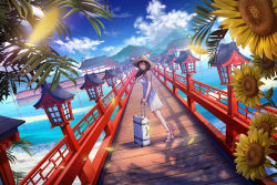 1girl ^_^ architecture blurry blush breasts bridge brown_hair building cloud depth_of_field dress dutch_angle east_asian_architecture eyes_closed flower from_side ground_vehicle hat high_heels highres hill lantern long_hair original outdoors parted_lips petals pink_shoes rolling_suitcase sho_(shoichi-kokubun) shoes sky sleeveless sleeveless_dress smile solo suitcase sun_hat sundress sunflower train water white_dress wind