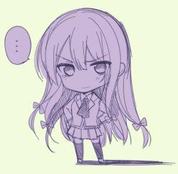 ... 1girl blazer boku_wa_tomodachi_ga_sukunai chibi long_hair mikazuki_yozora mishima_kurone monochrome school_uniform solo tagme