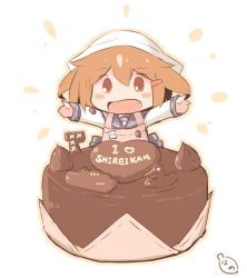 1boy apron blush_stickers brown_eyes brown_hair cake chocolate commentary_request fang food food_on_clothes hair_ornament hairclip hanomido ikazuchi_(kantai_collection) kantai_collection looking_at_viewer minigirl open_mouth outstretched_arms school_uniform serafuku short_hair smile solo tenugui