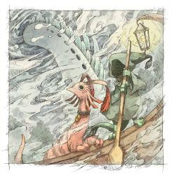 boat kuuneru light no_humans ocean original pixiv_fantasia pixiv_fantasia_5 watercraft