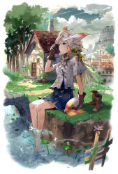 1girl animal_ears barefoot boots cloud cloudy_sky dragonfly feet_in_water frog gloves green_eyes kyuusugi_toku long_hair original river shoes_removed silver_hair sitting skirt sky soaking_feet solo tail tree water