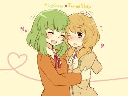 2girls :d ^_^ blonde_hair blue_eyes blush cheek-to-cheek clenched_hands collared_shirt copyright_name emblem eyes_closed flying_sweatdrops green_hair gumi head_tilt heart hood hoodie iede_no_shounen_to_maigo_shoujo kagamine_rin long_hair long_sleeves multiple_girls neck_ribbon necktie one_eye_closed open_mouth orange_sweater own_hands_together red_necktie red_ribbon ribbon shirt simple_background sketch smile sweater tensei_shoujo_to_tensei_shounen vocaloid white_shirt wing_collar yellow_background yunare yuri zipper