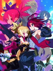 4boys 4girls adell_(disgaea) akutare_(disgaea) armpits black_gloves black_hair blonde_hair blue_eyes bright_pupils chains clenched_hand disgaea earrings elbow_gloves etna frog gloves gun hair_bobbles hair_ornament hanako_(disgaea) harada_takehito highres jewelry makai_senki_disgaea_2 microphone multiple_boys multiple_girls muscle necktie official_art one_eye_closed pink_eyes pointy_ears prinny purple_eyes red_eyes red_hair rozalin short_hair side_ponytail slit_pupils smile spiked_hair taro_(disgaea) tink_(disgaea) twintails weapon yukimaru zenon_(disgaea)