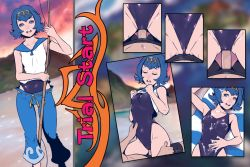 1girl blue_eyes blue_hair clothed_sex cowgirl_position cum cum_on_body cum_on_breasts cum_on_clothes cum_on_stomach cum_on_upper_body edited facial girl_on_top hairband multiple_views one-piece_swimsuit penis pokemon pokemon_(game) pokemon_sm sailor_collar sex short_hair small_breasts suiren_(pokemon) swimsuit swimsuit_under_clothes through_clothes trial_captain uncensored vaginal
