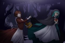 2girls apple apron aqua_hair basket bottle brown_hair chasing cloak crying crying_with_eyes_open dress fleeing food forest fruit green_dress hand_on_own_chest hatsune_miku highres holding hood long_hair mandy_kurosaki meiko milk_bottle moonlit_bear_(vocaloid) multiple_girls nature night picnic_basket reaching_out red_dress short_hair tears tree very_long_hair vocaloid